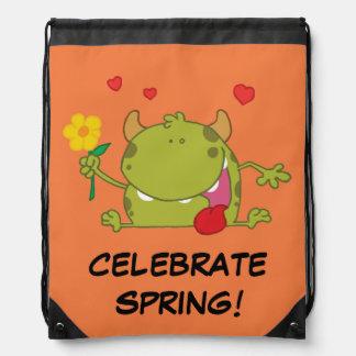 Spring Flowers Green Monster Drawstring Backpacks