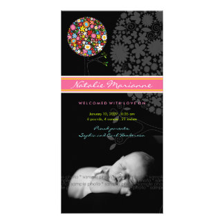 Spring Flowers Pop Tree Baby Birth Announcement Customised Photo Card