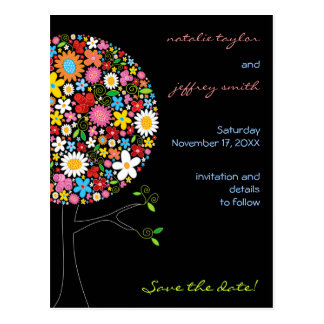 Spring Flowers Pop Tree Whimsical Save The Date Postcard