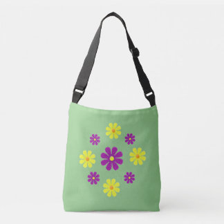Spring purple and yellow flowers on green tote bag