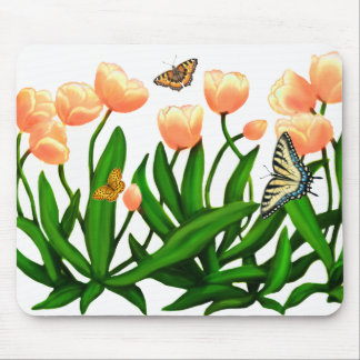 Spring Tulips and Butterflies Mousepad