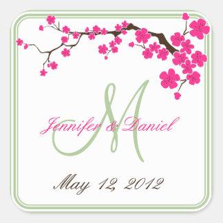 Spring Wedding Summer Wedding Monogram Favor Label Square Sticker