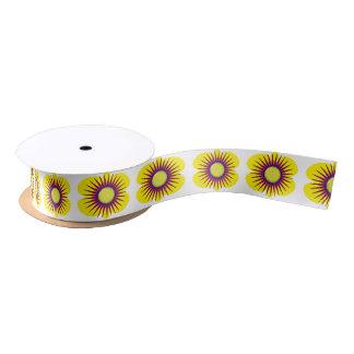 Spring yellow & purple flower in pattern on ribbon satin ribbon