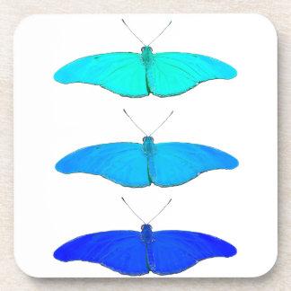 Square blue butterflies beverage coaster