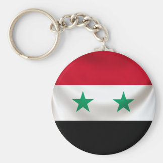Square flag or Syria, ceremonial draped Basic Round Button Key Ring