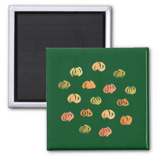 Square magnet with pumpkins