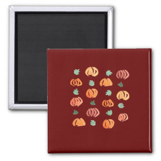 Square magnet with pumpkins and leaves