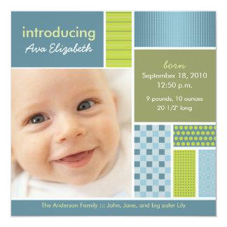 Square Patchwork Blue Designer Birth Announcement
