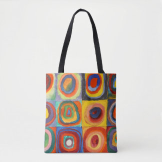 Squares with Concentric Circles by Kandinsky Tote Bag