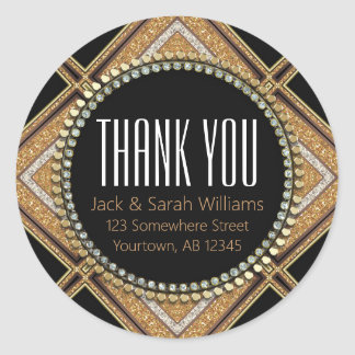 Squaza-D Art Deco Gold Black Thank You Round Round Sticker
