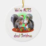 Squirrel Christmas Nuts Round Ceramic Decoration