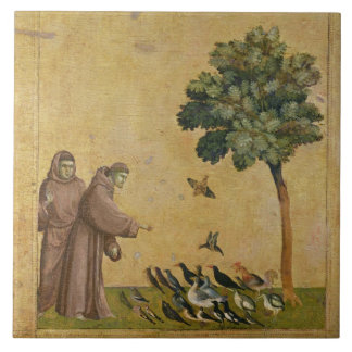 St. Francis of Assisi preaching to the birds Large Square Tile