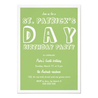 St Patricks Day Birthday Party 40th Retro Green 13 Cm X 18 Cm Invitation Card