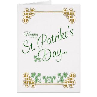 St Patrick's Day Card With Shamrock Celtic Knot
