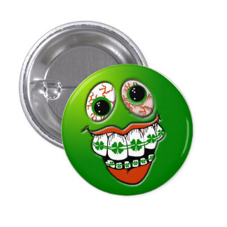 St. Patrick's Day Humor Joke Funny Face Green 3 Cm Round Badge