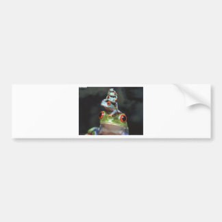 Stacked Frogs Bumper Sticker