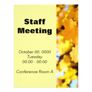 Staff Meeting Flyers Yellow Autumn Leaves Office