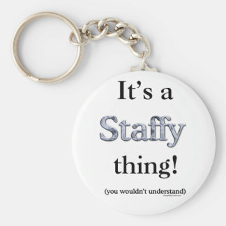 Staffordshire Bull Terrier Thing Basic Round Button Key Ring