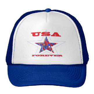 Star USA Forever ~Red White & Blue Patriotic Cap