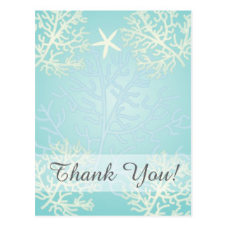 Starfish and Coral Reef-Thank You Postcard