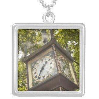 Steam powered clock in the Gastown neighborhood Square Pendant Necklace
