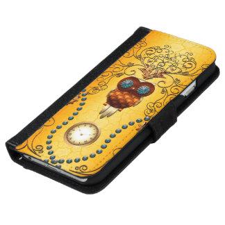 Steampunk , cute owl iPhone 6 wallet case