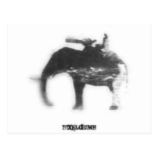 Stencil Spray Elephant Postcard