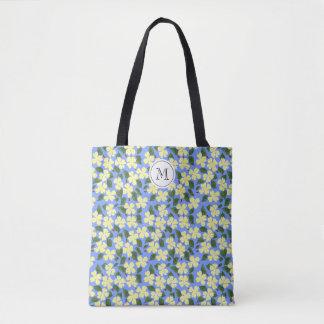 Stencil Yellow Flower Monogram Tote Bag