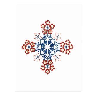 Stencilled Flowers Cross Postcard