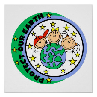 Stick Figure Protect Our Earth T-shirts and Gifts Poster