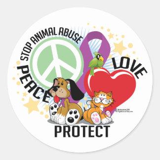 Stop Animal Abuse PLP Round Sticker