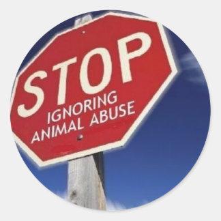 STOP Ignoring Animal Abuse! Round Sticker