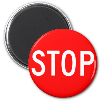 Stop Sign - Highway Hexagon 6 Cm Round Magnet