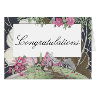 Storybook Cottage New Home Congratulations Greeting Card