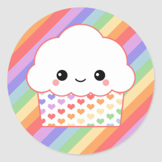 Strawberry Cupcake Rainbow Round Sticker