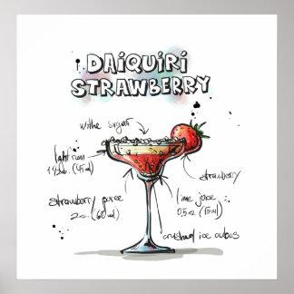 Strawberry Daiquiri Drink Recipe Design Poster