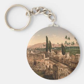 Street of the Tombs, Pompeii, Campania, Italy Basic Round Button Key Ring