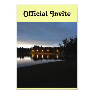 Streetlights Reflecting on the Lake 13 Cm X 18 Cm Invitation Card
