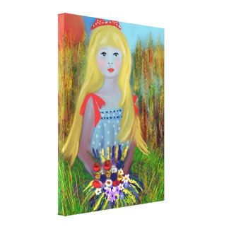 Stretched Canvas Print,Girl with basket of flowers Gallery Wrap Canvas
