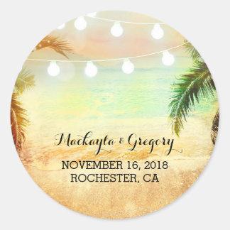 String Lights Palms Beach Sunset Wedding Stickers