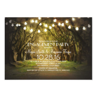 String Lights Trees Path Rustic Engagement Party 13 Cm X 18 Cm Invitation Card