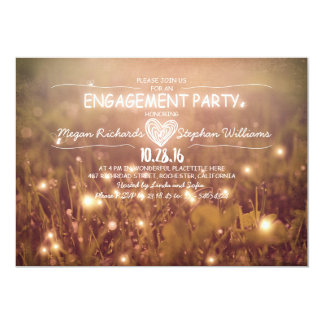 string of lights fireflies rustic engagement party 13 cm x 18 cm invitation card