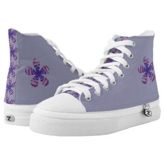 Striped Purple Flower Hi Top Printed Shoes