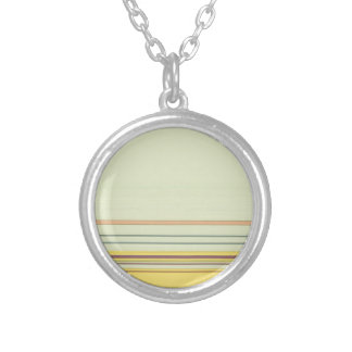 Stripes Bold and Subtle - Yellow and Green Round Pendant Necklace