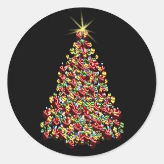 Stunning Holiday Tree Xmas Christmas Envelope Seal Round Sticker