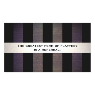 Stylish Black and Wood Striped Referral Card Pack Of Standard Business Cards