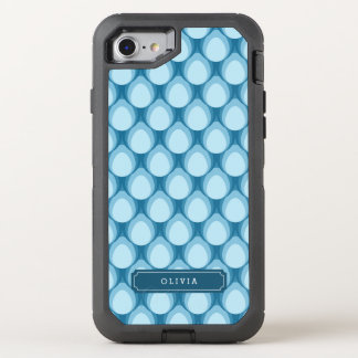 Stylish Blue Teardrop Pattern Monogram OtterBox Defender iPhone 7 Case
