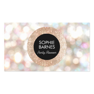 Stylish Bokeh and Rose Gold sequin Event Planner Pack Of Standard Business Cards