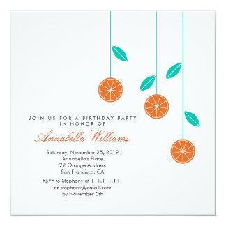 Stylish Modern Oranges Birthday Party Invitation