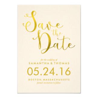 Stylish Peach Script Wedding Save the Date 13 Cm X 18 Cm Invitation Card